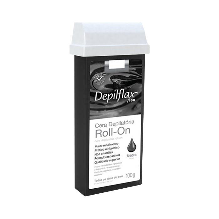 cera depilatória roll-on depilflax negra - 100g