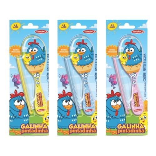 kit escova de cabelo + pente condor infantil galinha pintadinha ref 6782