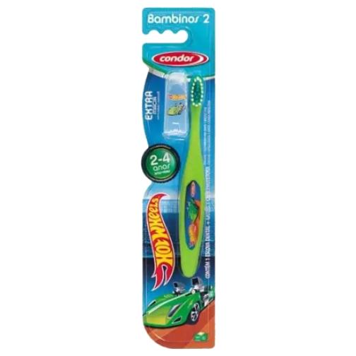 escova de dente condor infantil hot wheels extra macio 2 a 4 anos ref 31673