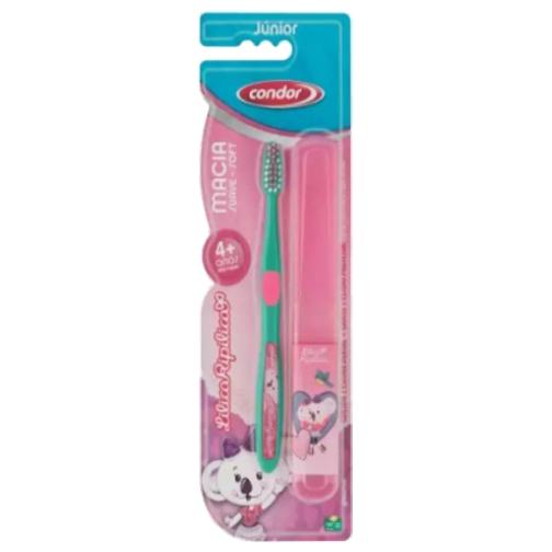 escova de dente condor infantil lilica ripilica macio 4 anos com estojo ref31600
