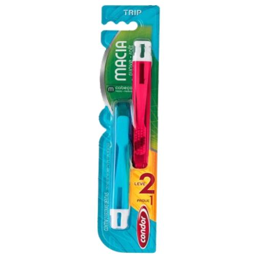 escova de dente condor trip leve 2, pague 1 macia ref 80350