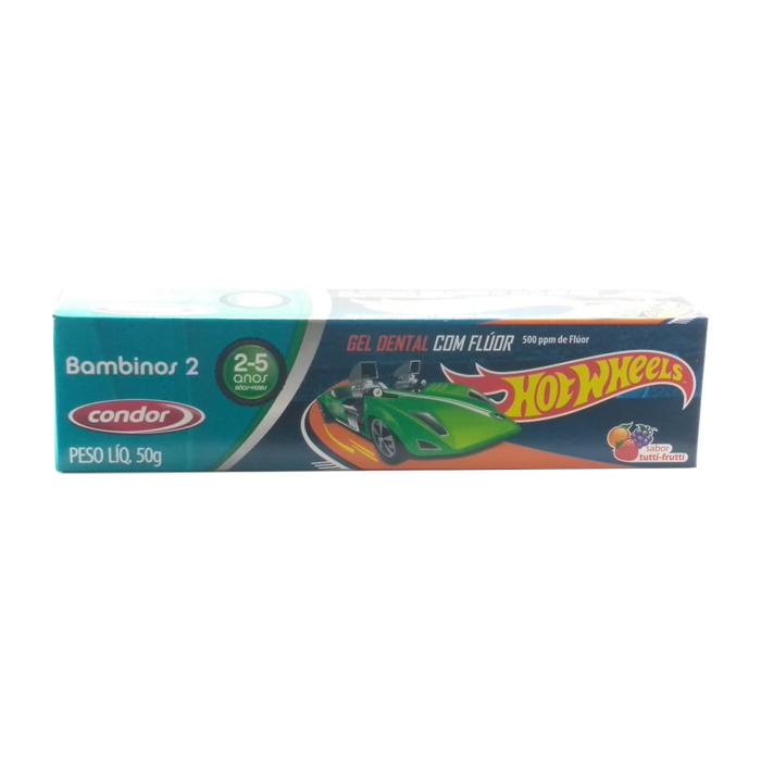 gel dental condor hot wheels com flúor 2 a 5 anos ref3512