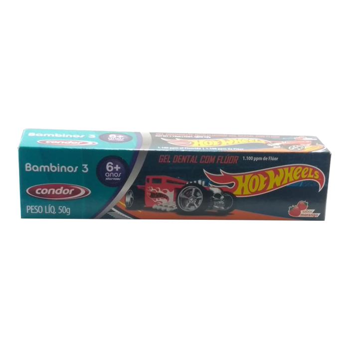 gel dental condor hot wheels com flúor 6+ anos ref3511