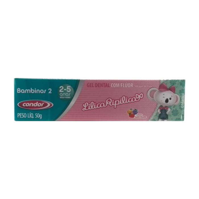 gel dental condor lilica ripilica com flúor 2 a 5 anos ref 3512