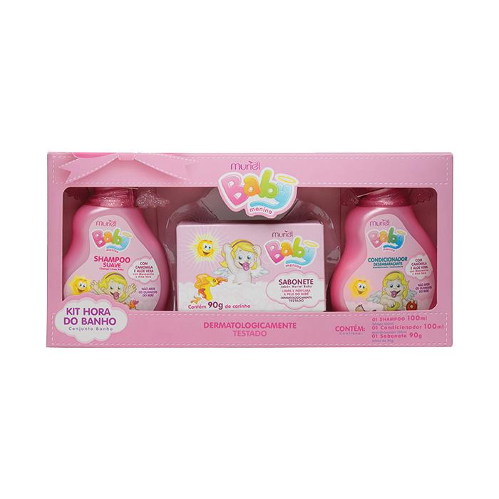 kit muriel baby hora banho shampoo+condicionador+sabonete (menina)