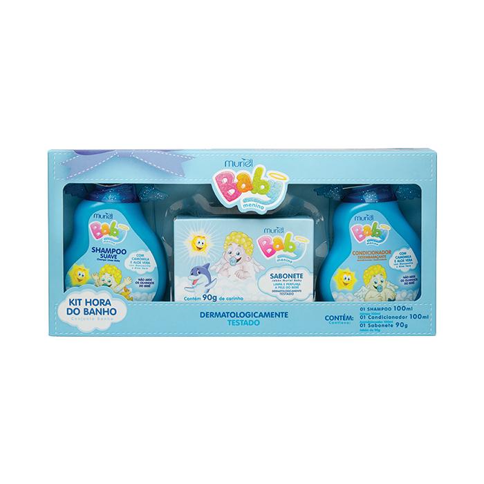 kit muriel baby hora banho shampoo+condicionador+sabonete (menino)