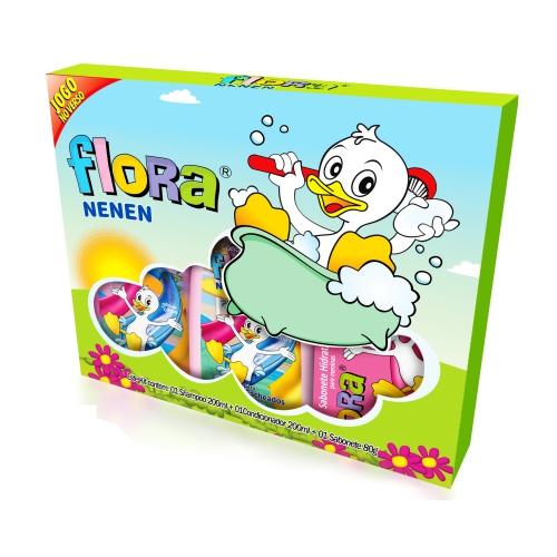 kit flora nenen shampoo 200ml+condicionador 200ml+sabonete 80gr cacheados
