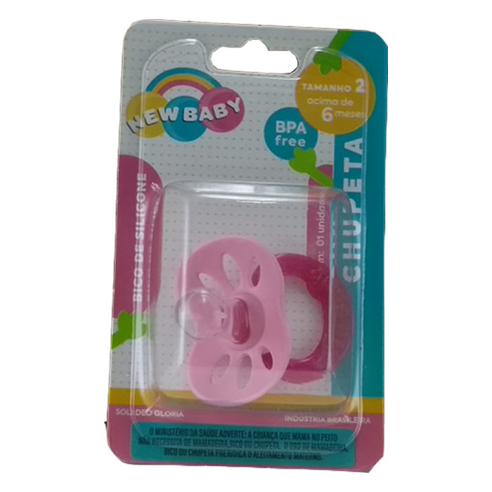 chupeta new baby silicone n2 universal rosa ref108