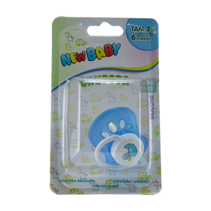 chupeta new baby silicone n2 ventilada azul ref127d