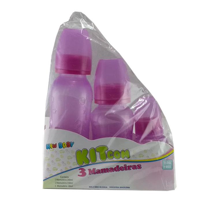 kit new baby mamadeira com bico silicone rosa ref158