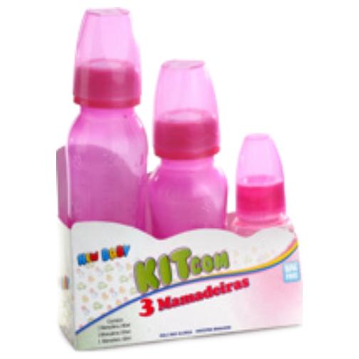 kit new baby mamadeira com bico pvc rosa ref158, p