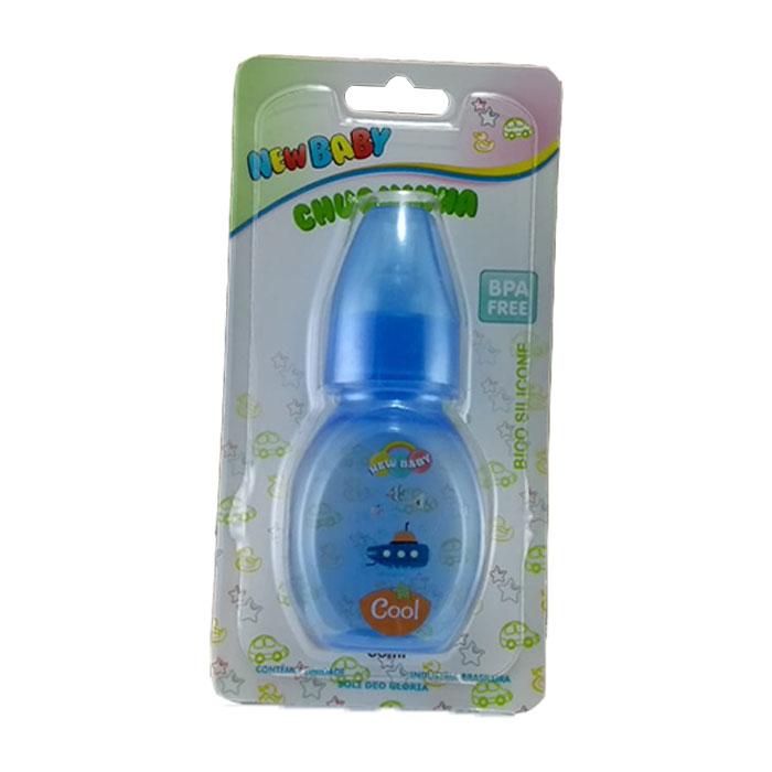 mamadeira new baby mini 60ml com tampa azul ref102
