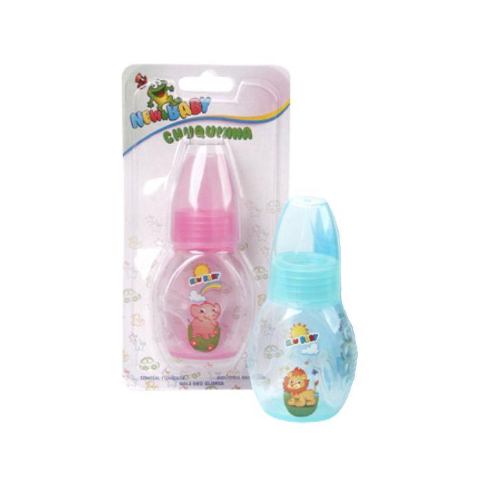 mamadeira new baby mini 60ml com tampa rosa ref102