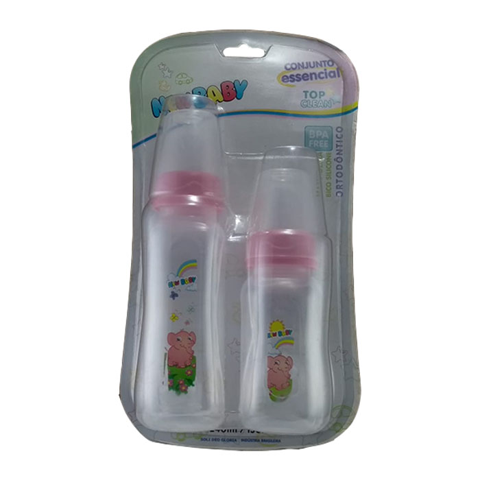 kit mamadeira new baby top clean bico ortordôntico rosa ref204