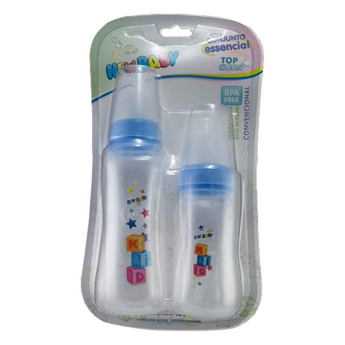 kit mamadeira new baby top clean bico universal azul ref205