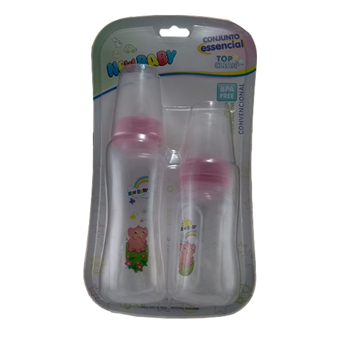 kit mamadeira new baby top clean bico universal rosa ref205