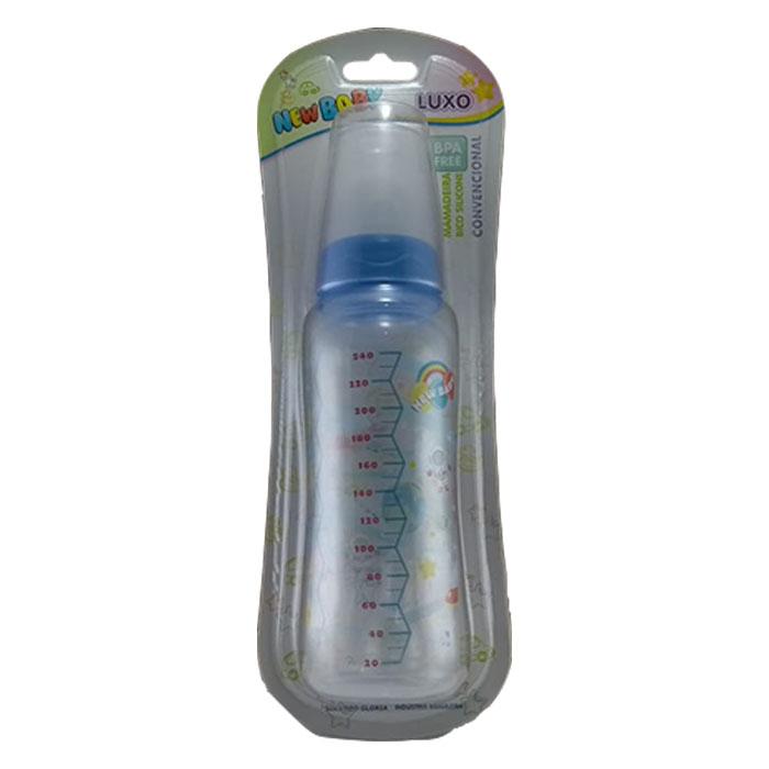 mamadeira new baby luxo 240ml bico universal azul ref501