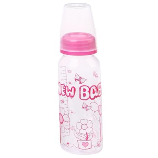 mamadeira new baby plus 240ml bico ortodôntico rosa ref600