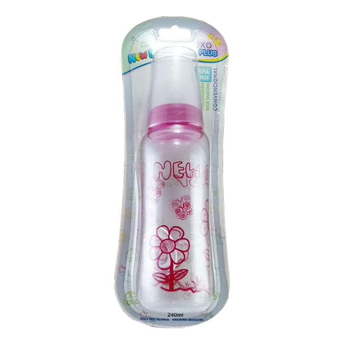 mamadeira new baby plus 240ml bico universal rosa ref601