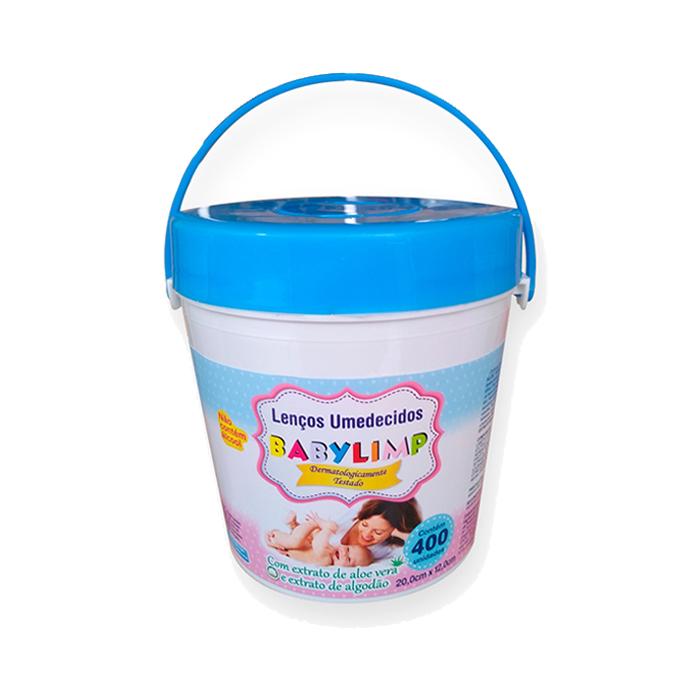 lenço umedecido babylimp balde c/400un azul