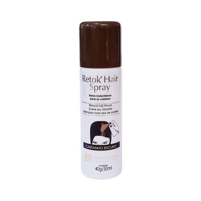 retok hair spray p calvicie e cabelo brancos anaconda castanho escuro