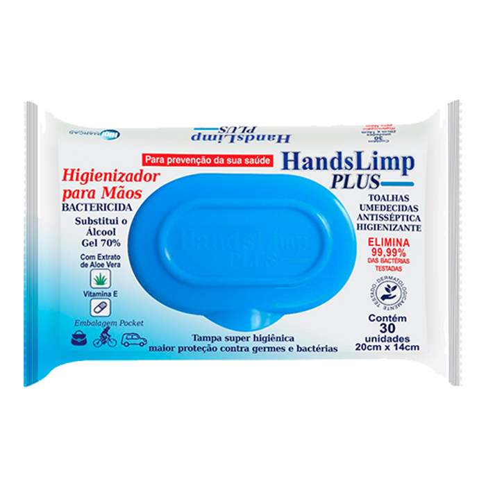 toalha umedecida handslimp pocket 70% mãos c/30un