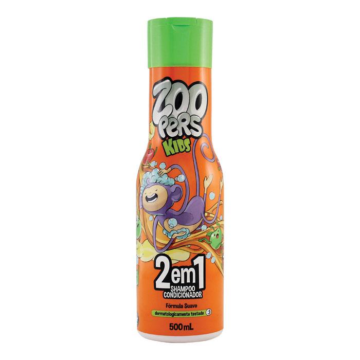 shampoo e condicionador zoopers kids 2 em 1 - 500ml