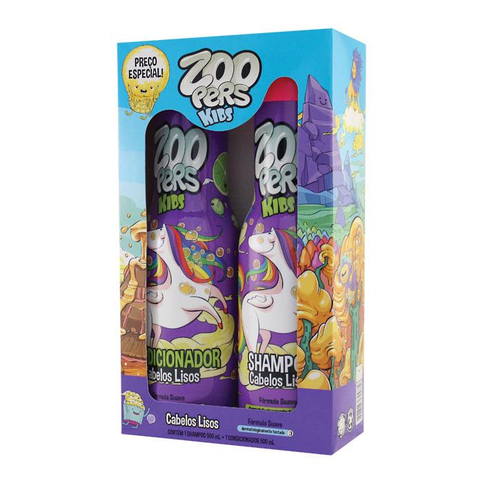 kit zoopers kids shampoo + condicionador cabelos lisos - 500ml