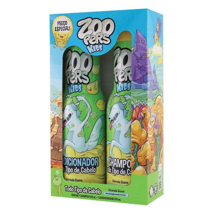 kit zoopers shampoo + condicionador todo tipo de cabelo - 500ml